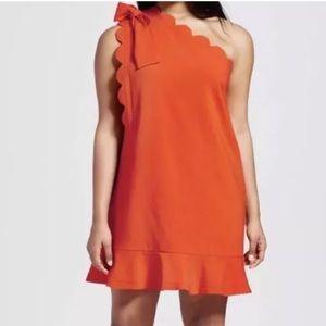 Victoria Beckham Mini Scallop One Shoulder Dress